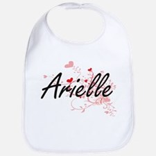 Arielle Artistic Name Design with Hearts Bib