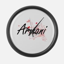 Armani Artistic Name Design with Large Wall Clock