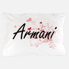 Armani Artistic Name Design with Heart Pillow Case