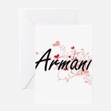 Armani Artistic Name Design with He Greeting Cards