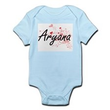 Aryana Artistic Name Design with Hearts Body Suit