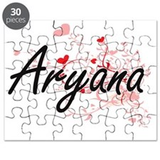 Aryana Artistic Name Design with Hearts Puzzle