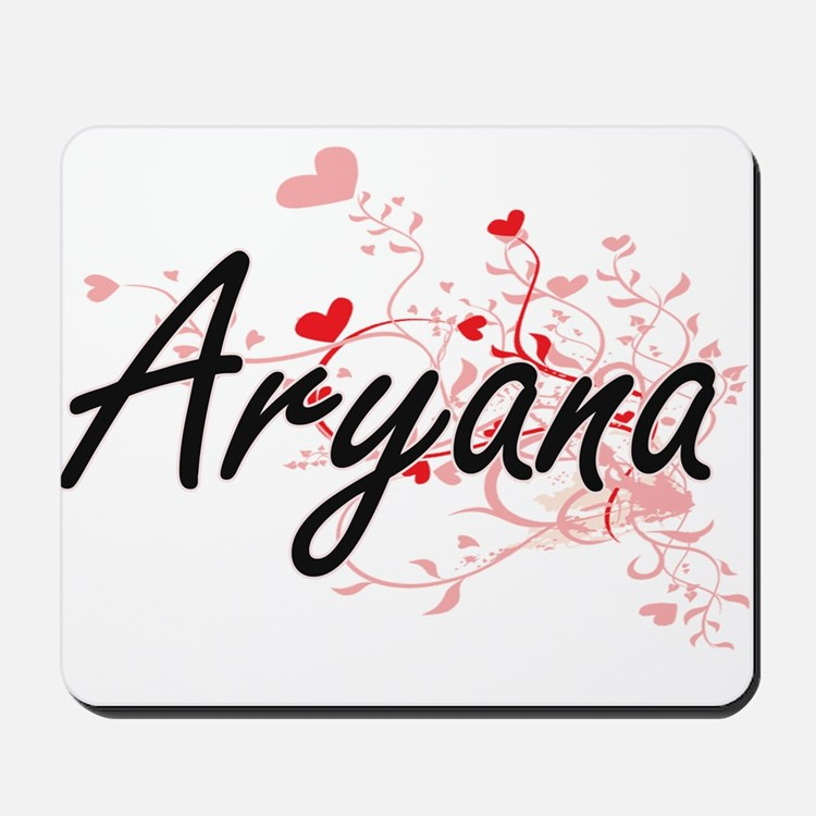 Aryana Artistic Name Design with Hearts Mousepad