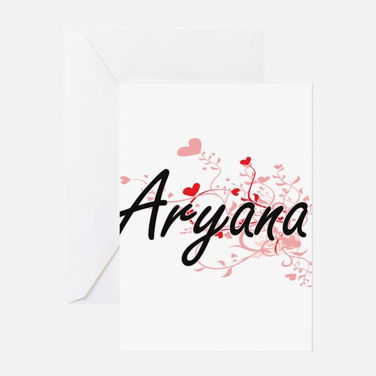Aryana Artistic Name Design with He Greeting Cards
