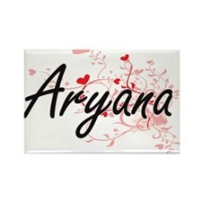 Aryana Artistic Name Design with Hearts Magnets