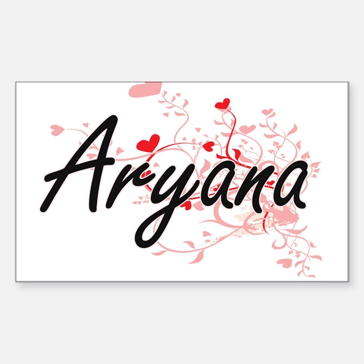 Aryana Artistic Name Design with Hearts Decal