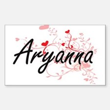 Aryanna Artistic Name Design with Hearts Decal