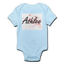 Ashlee Artistic Name Design with Hearts Body Suit