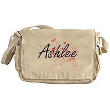 Ashlee Artistic Name Design with Hea Messenger Bag