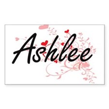 Ashlee Artistic Name Design with Hearts Decal