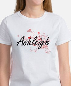Ashleigh Artistic Name Design with Hearts T-Shirt