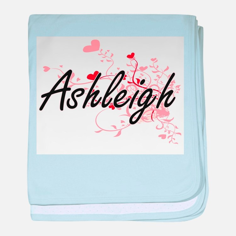Ashleigh Artistic Name Design with He baby blanket