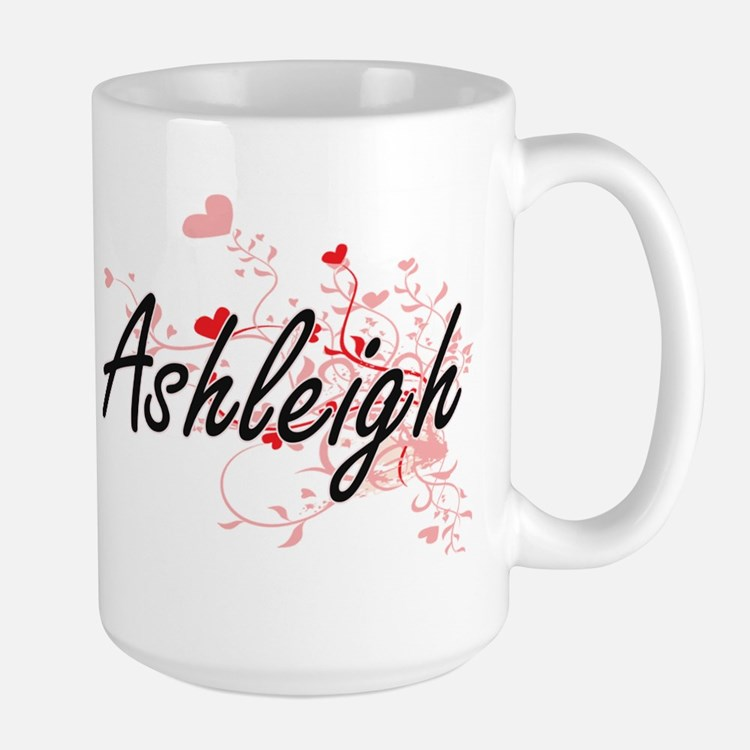 Ashleigh Artistic Name Design with Hearts Mugs