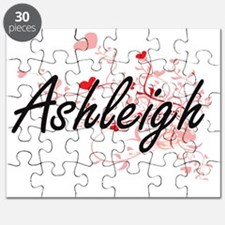 Ashleigh Artistic Name Design with Hearts Puzzle