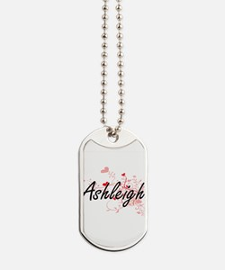 Ashleigh Artistic Name Design with Hearts Dog Tags