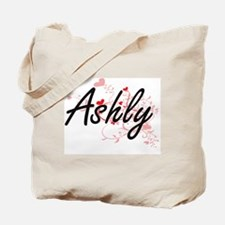 Ashly Artistic Name Design with Hearts Tote Bag