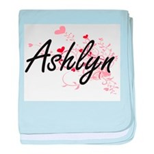 Ashlyn Artistic Name Design with Hear baby blanket