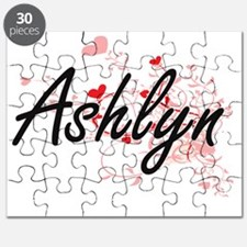 Ashlyn Artistic Name Design with Hearts Puzzle