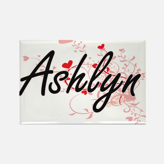 Ashlyn Artistic Name Design with Hearts Magnets