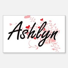 Ashlyn Artistic Name Design with Hearts Decal