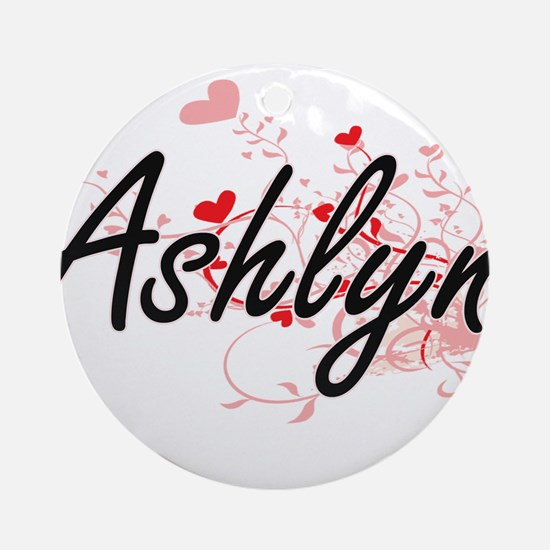 Ashlyn Artistic Name Design with Ornament (Round)