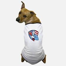 Plumber Holding Wrench USA Flag Shield Retro Dog T