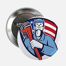 "Plumber Holding Wrench USA Flag Shield Retro 2.25"""