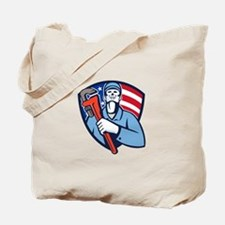 Plumber Holding Wrench USA Flag Shield Retro Tote