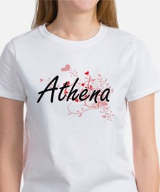 Athena Artistic Name Design with Hearts T-Shirt