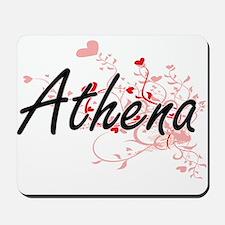 Athena Artistic Name Design with Hearts Mousepad