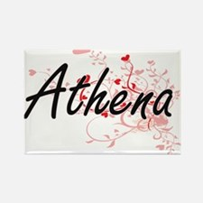 Athena Artistic Name Design with Hearts Magnets