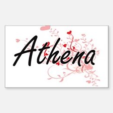 Athena Artistic Name Design with Hearts Decal