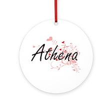 Athena Artistic Name Design with Ornament (Round)