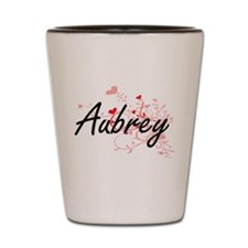 Aubrey Artistic Name Design with Hearts Shot Glass