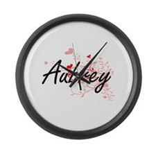 Aubrey Artistic Name Design with Large Wall Clock
