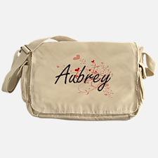 Aubrey Artistic Name Design with Hea Messenger Bag