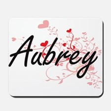 Aubrey Artistic Name Design with Hearts Mousepad