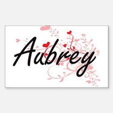 Aubrey Artistic Name Design with Hearts Decal