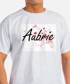Aubrie Artistic Name Design with Hearts T-Shirt