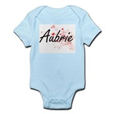 Aubrie Artistic Name Design with Hearts Body Suit