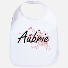 Aubrie Artistic Name Design with Hearts Bib