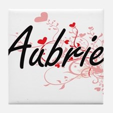 Aubrie Artistic Name Design with Hear Tile Coaster