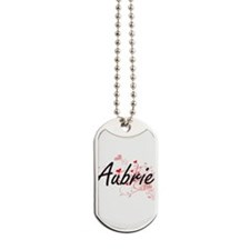 Aubrie Artistic Name Design with Hearts Dog Tags