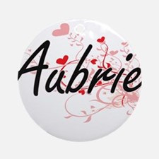 Aubrie Artistic Name Design with Ornament (Round)