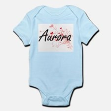 Aurora Artistic Name Design with Hearts Body Suit