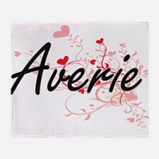 Averie Artistic Name Design with Hea Throw Blanket