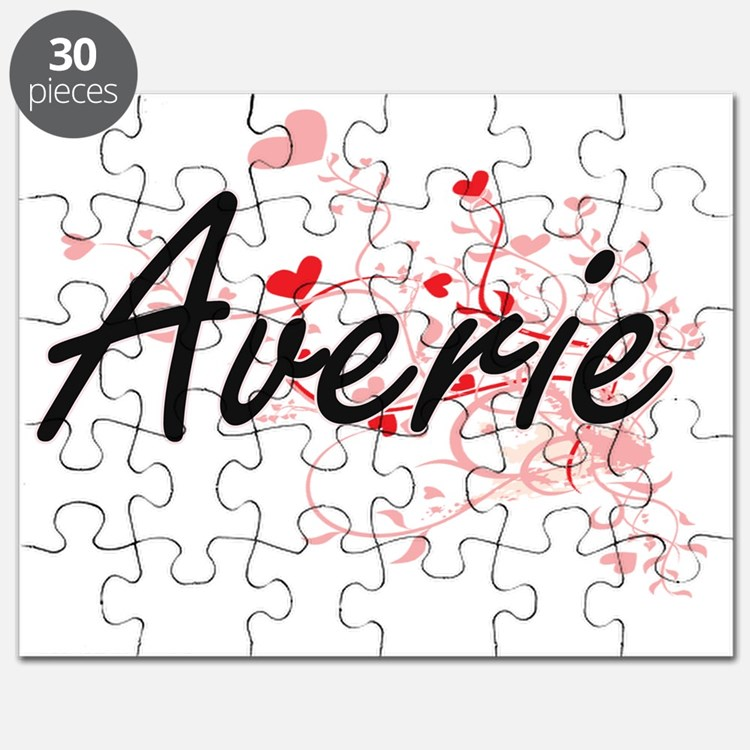 Averie Artistic Name Design with Hearts Puzzle