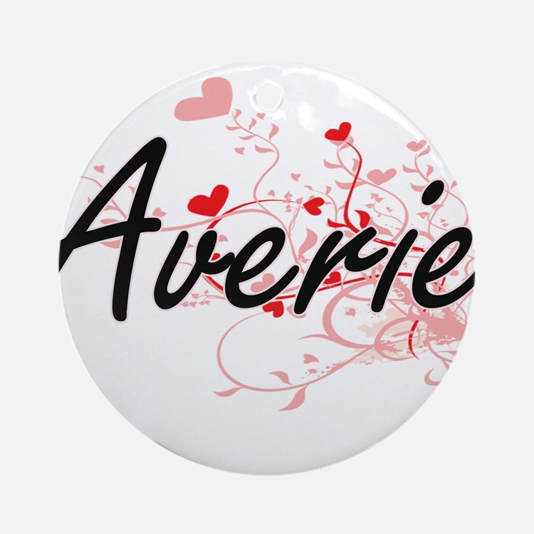 Averie Artistic Name Design with Ornament (Round)