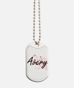 Avery Artistic Name Design with Hearts Dog Tags