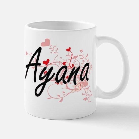 Ayana Artistic Name Design with Hearts Mug